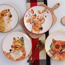 8 Zoll Einfache Styl Cartoon Tier Geschirr Keramikplatte Dessert Frühstück Obst Steak Platte