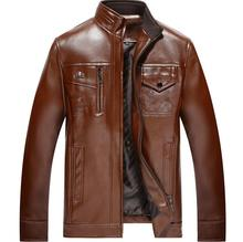 Spring autumn thin leather coats mens motorcycle jacket men jaqueta de couro masculino stand collar black brown S - 3XL