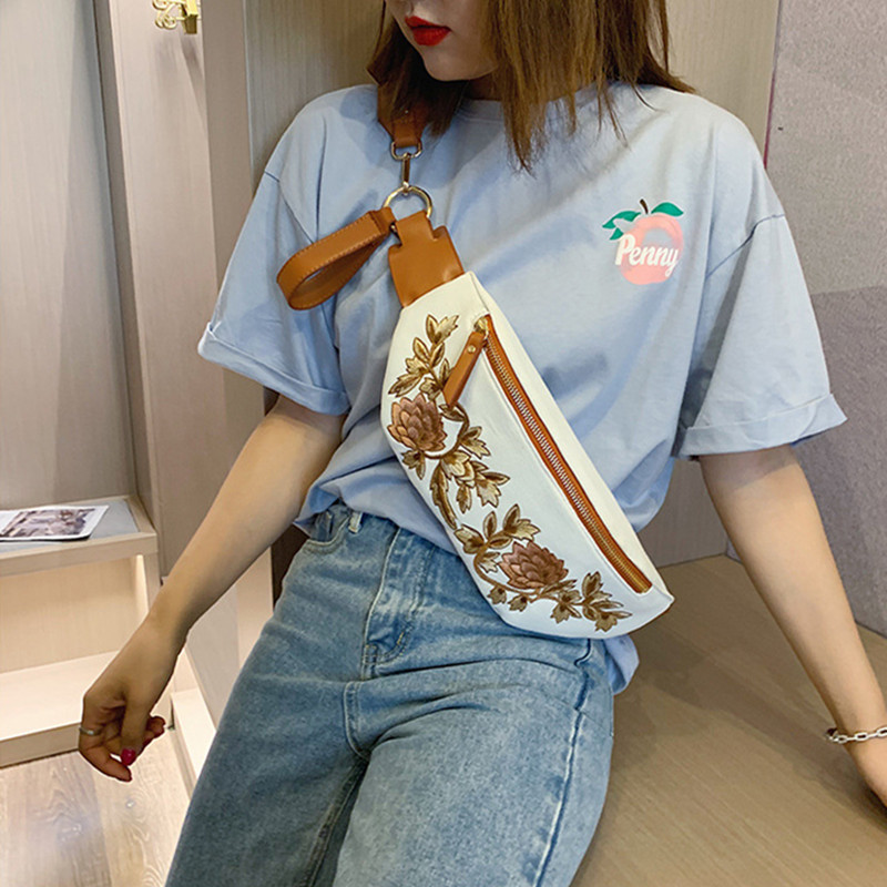 Women's Belt Bag Embroidery PU Fanny Pack Bananka Travel Leisure Bum Bag Bag For The Belt Women Catwalk Belly Band Waist Bag