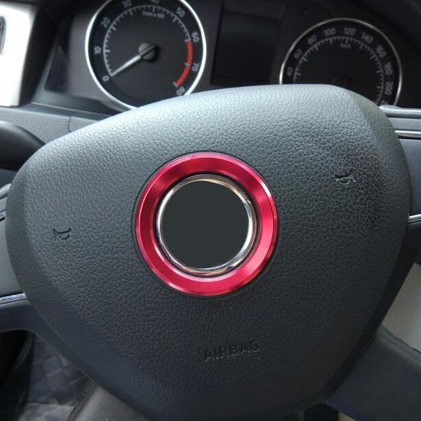 Rustfritt stål 3D ratt Logo Circle Sticker Case for Skoda Octavia A7 Rapid Fabia Superb 2013-2016 Biltilbehør