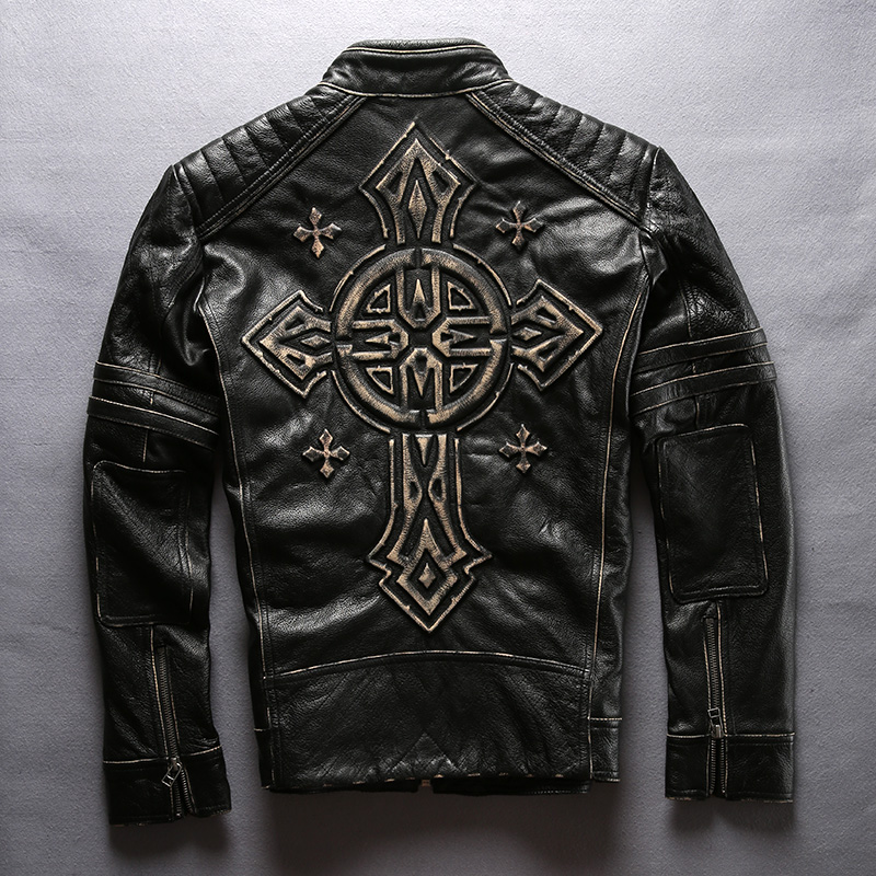 Jacket Biker-Coats Motorcycle Vintage Thick Cowhide 3D Black Cross Men's