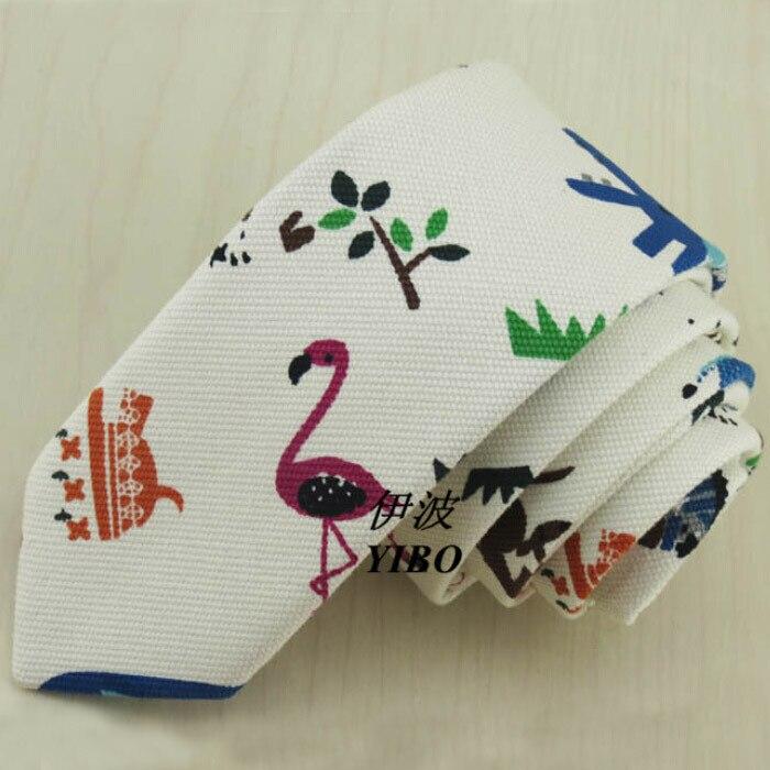 Animal Print Boys Ties White Slim Skinny Gravata Infantil New 5cm Canvas Cravatte Uomo Piccole Multicolor Animal Print Boys Ties