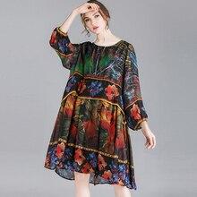 Chiffon Dress Plus Size Spring Loose Woman 2019 Casual Vintage Fashion Work Party Dresses Women Elegant Brand Clothings 4xl