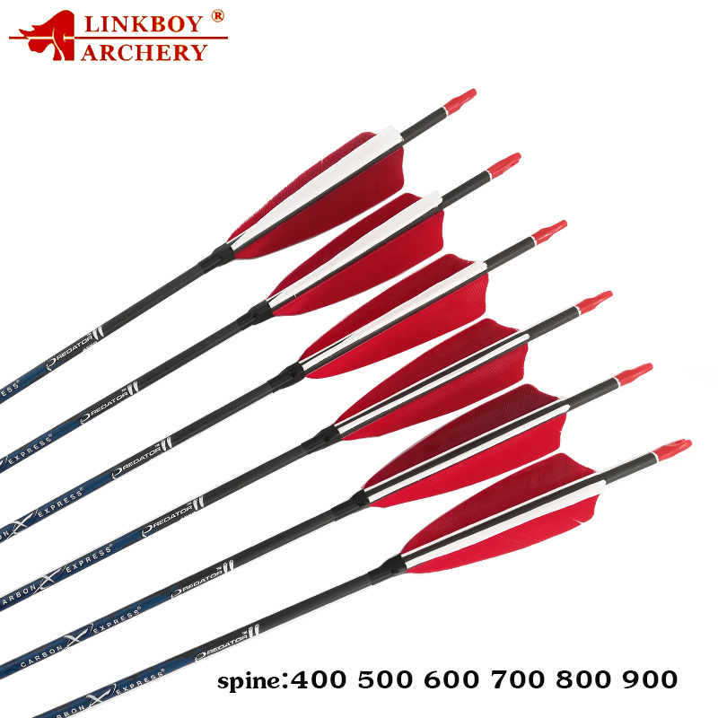 12PCS Carbon Arrows Spine500 30inch 4inch Turkey Feather Pin Nock tips 80gr for Recurve Bow Hunting Shooting Accessories Archery