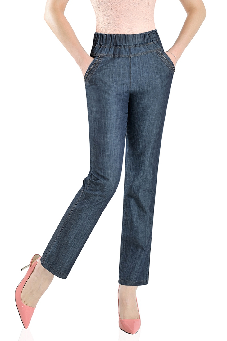 Woman Spring Oversized High Elastic Waist Loose Ankle length Pants Female Plus Size Summer Straight Thin Tencel Jeans Lady Jeans