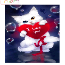 Diamond cat Diy 5D Embroidery Pattern Cartoon Cat Cross Stitch Set Artificial L245