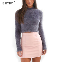 Julissa Mo Hairy Turtleneck Knitted Sweater Women Autumn And Winter 5 Colours Plush Sweater Short Top