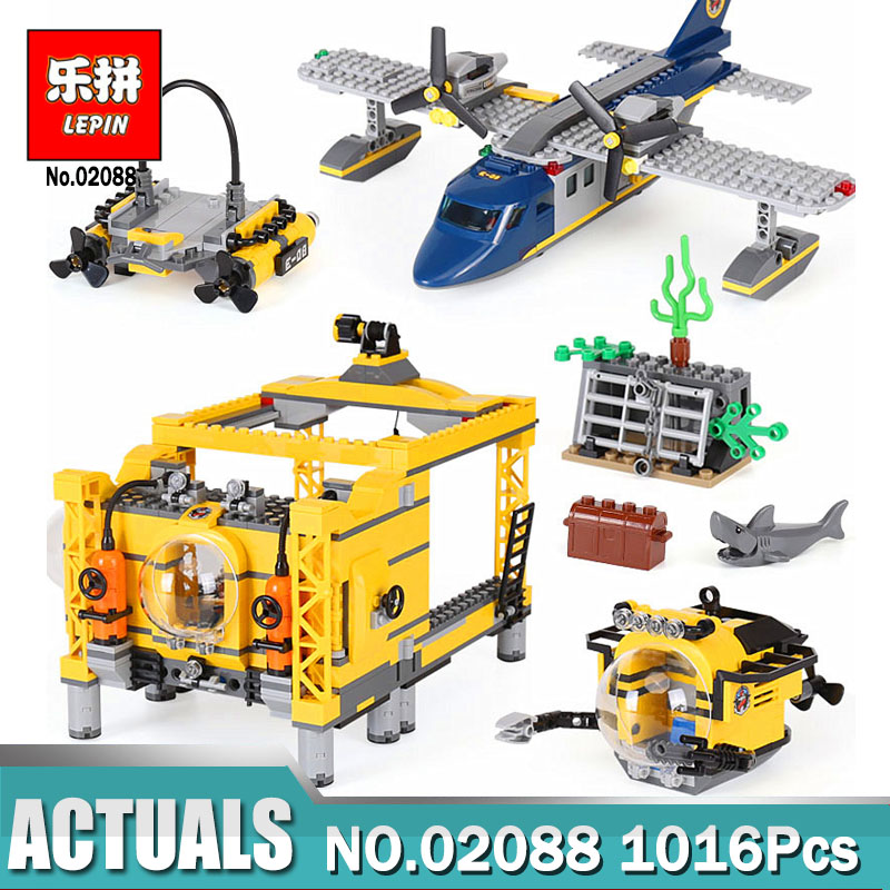 New Lepin 02088 City Series The Deep Sea Operation Base Set Legoing 60096 Building Blocks Toys for Children New Year Gift lepin 02020 965pcs city series the new police station set children educational building blocks bricks toys model for gift 60141