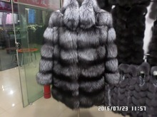 The silver fox fur coat 80CM long