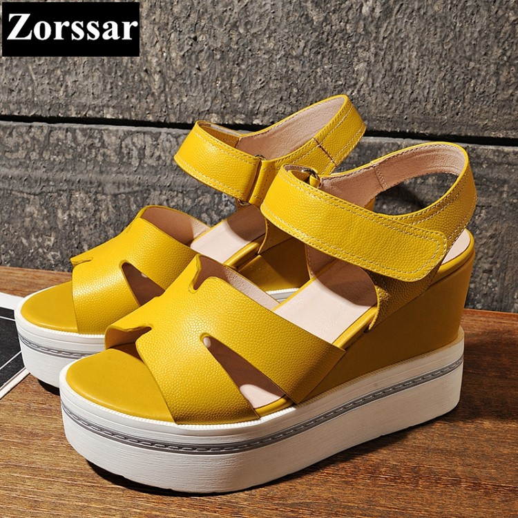 Summer shoes Women Casual Platform wedges sandals open toe woman creeper shoes 2017 Fashion Genuine leather womens High heels 2017 gladiator summer shoes woman platform sandals women flats soft leather casual open toe wedges sandals women shoes r18