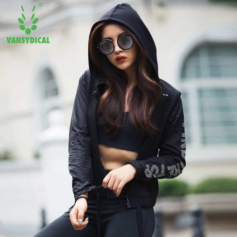 2018 Vansydical Women Sport Coat Autumn Running Clothing Fashion Outdoor Fitness Wear Long Sleeved Jacket Womens