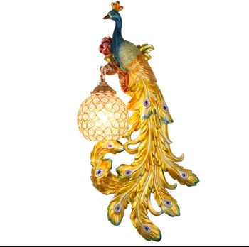 European pastoral French modern modern minimalist Nordic living room background bedroom bedside creative peacock wall lamp