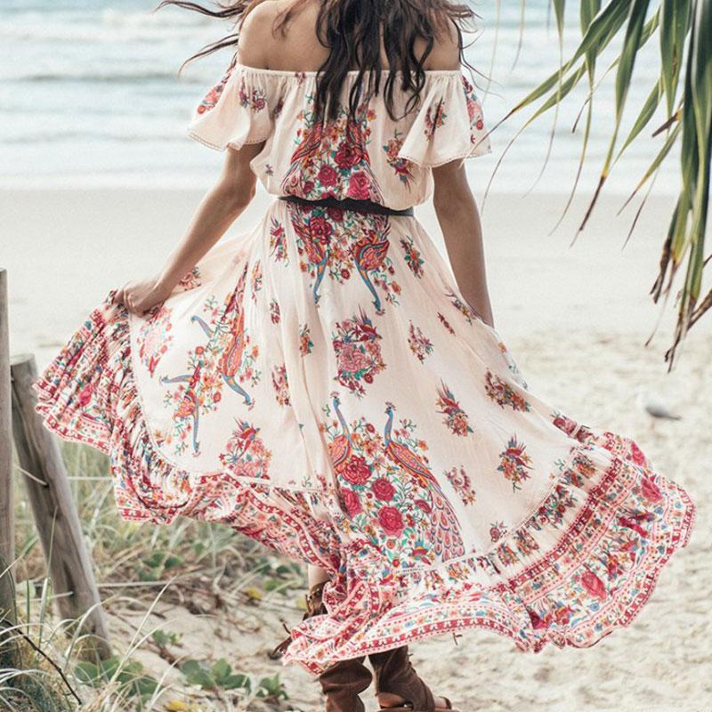 Festa della boemia Della Spiaggia di Estate Abiti 2018 Gypsy Donne di Etnia Largo Delle Increspature Della Spalla Floreale Boho Hippie Maxi Midi Dress