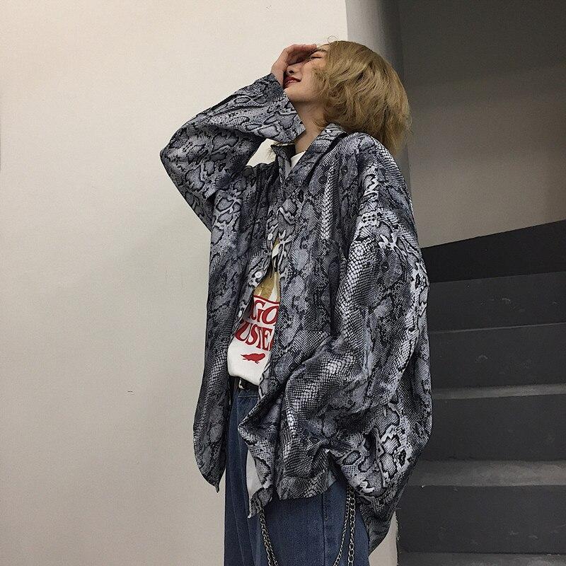 Men Women Spring Autumn Fashion Korea Style Vintage Dark Python Pattern Print Long Sleeve Shirt Male Lover Casual Oversize Shirt