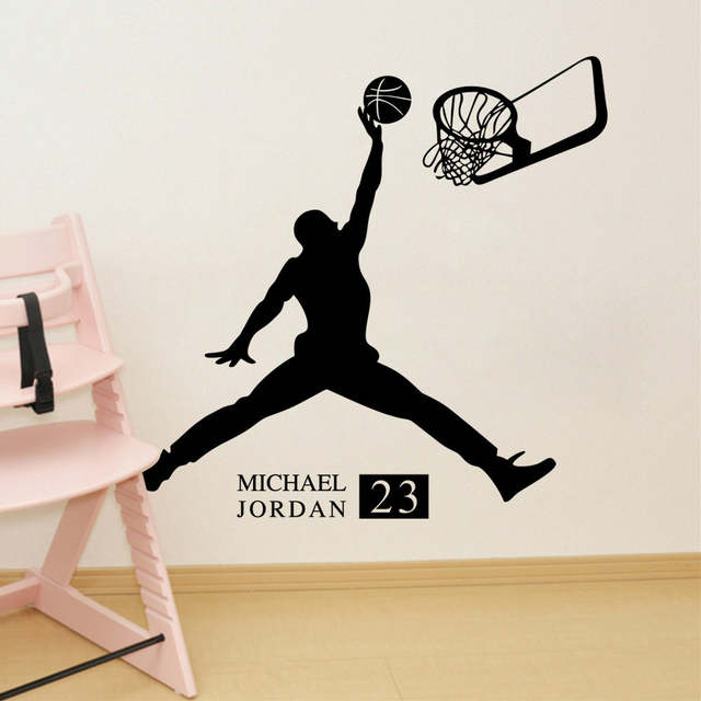 21042c2e4191 Online Shop Michael Jordan Play Basketball Wall Stickers Home Decors Basketball  Sports Wall Decals For Kids Room Decoration Vinyl Stickers