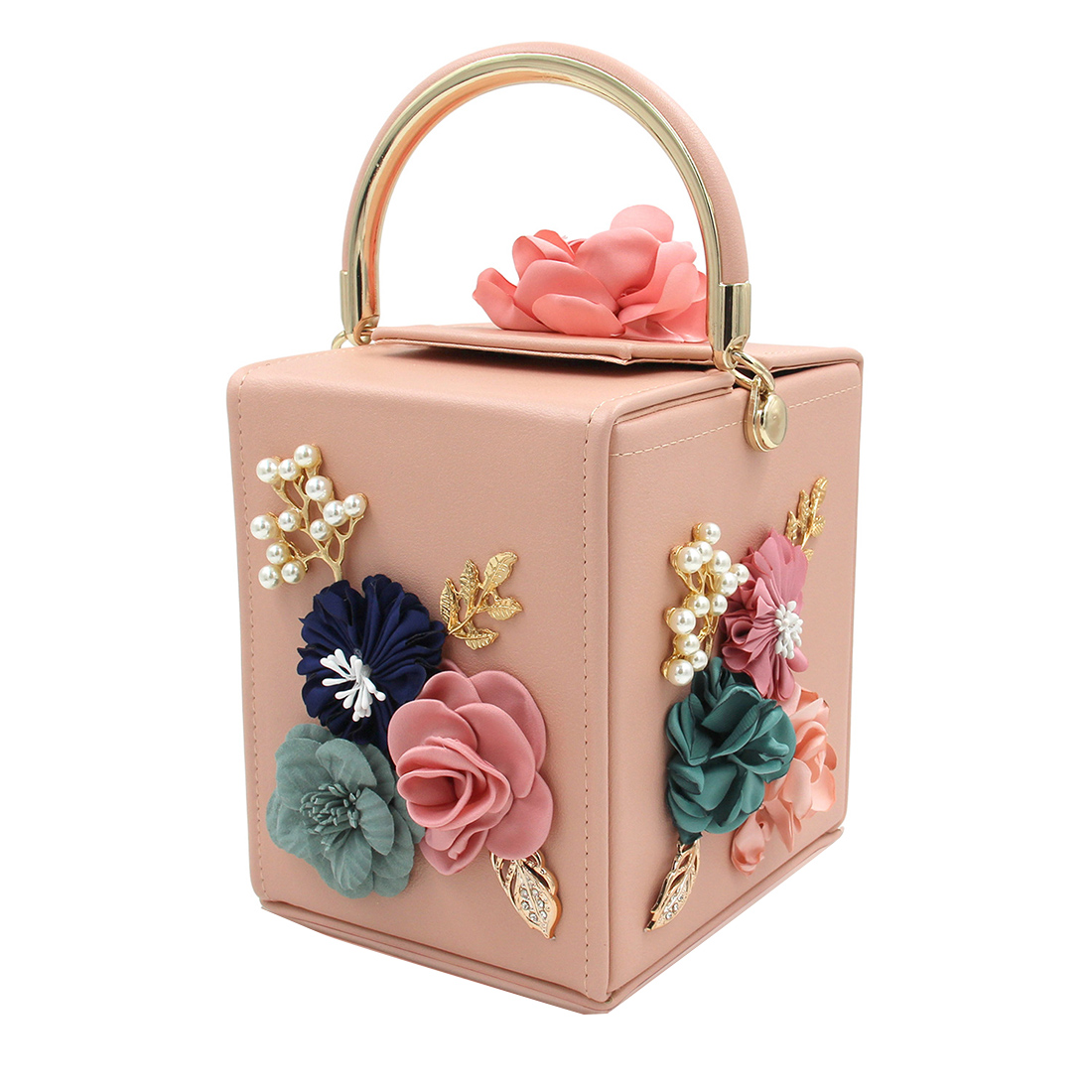Women Evening Bag Design Ladies Flower Handbag For Wedding Female Clutch Fashion Squared Box Party Shoulder Messenger Bags Totes in Top Handle Bags from Luggage Bags