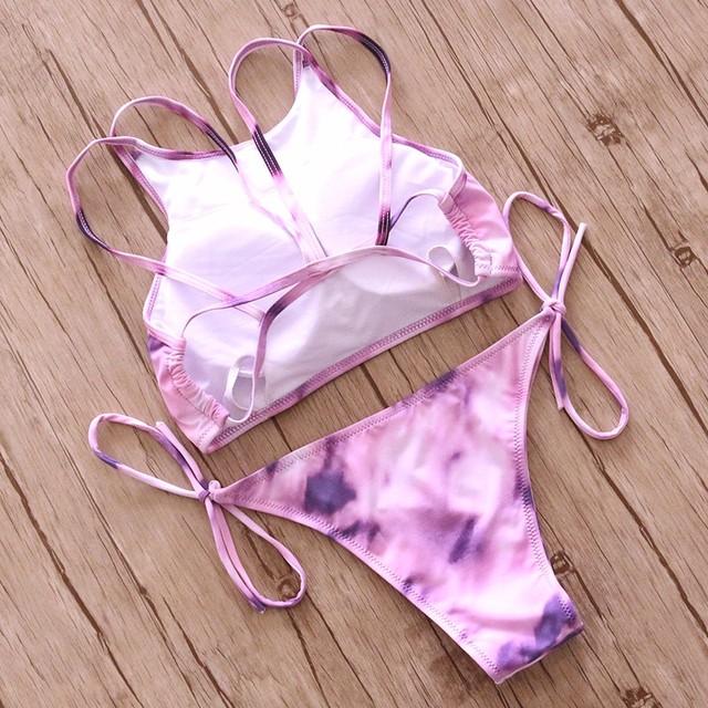 Sexy High Neck floral print Bikini set