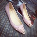 Stars Loves 2016 Flats Women Pointed Toe Breathable Pu Leather Studs Harness Casual Shallow Mouth Single Shoes Ladies