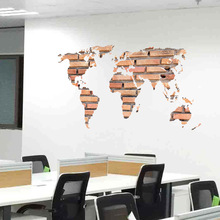Stone Brick World Map Wall Sticker Office Art Background Pegatinas De Pared Self-Adhesive Autocollant Home Decor 3D Decals