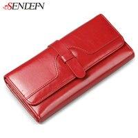 100 Oil Wax Cowhide Women S Wallets 2014 Retro Long Designer Brand Genuine Leather Purse Woman