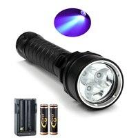 Nova CREE Lanterna LED UV 395-400nm Lanterna Mergulho Roxo kit de Luz Subaquática À Prova D' Água Da Tocha frete grátis