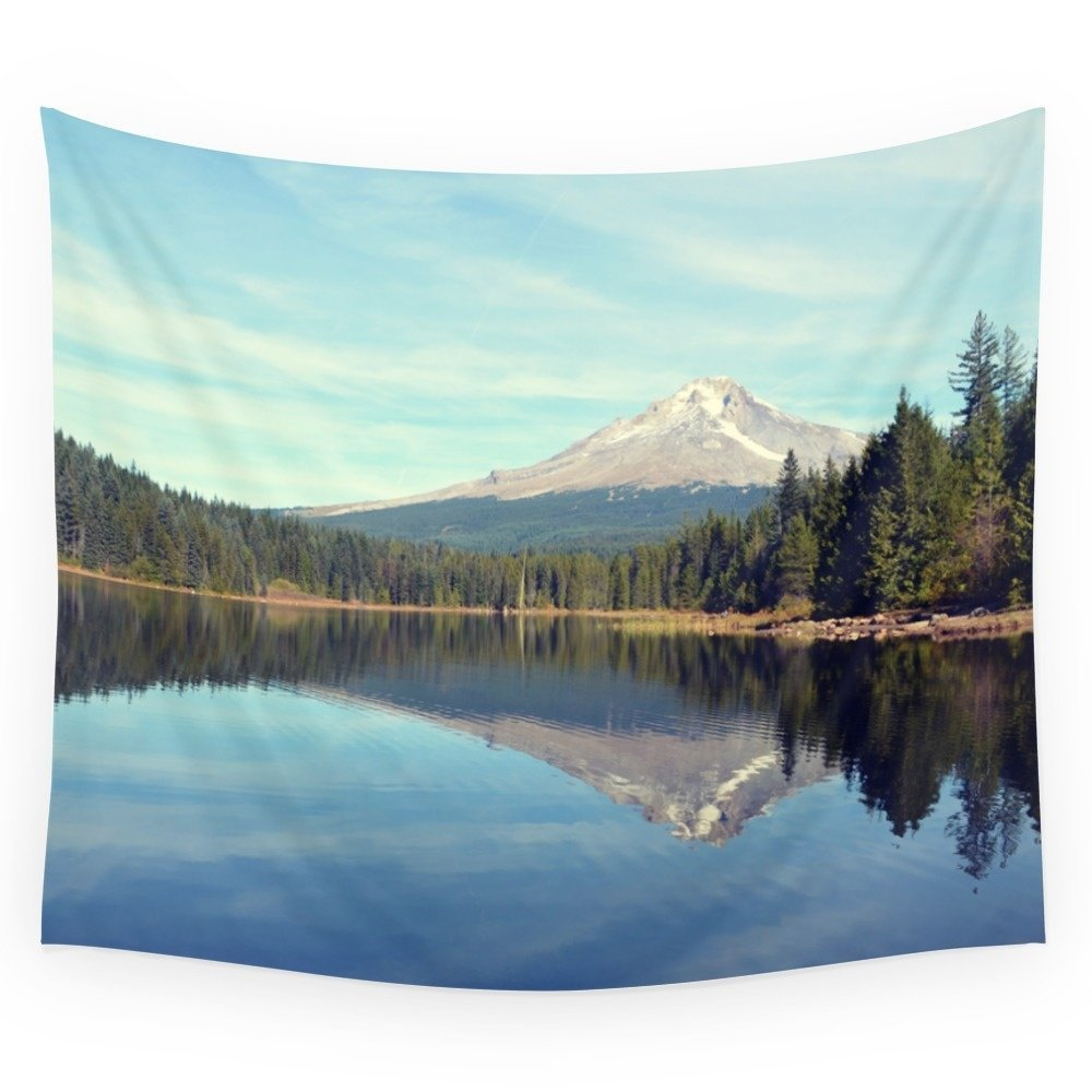 Mount Hood Trillium Lake Oregon Wall Tapestry Wedding Party Gift Bedspread Beach Towel Yoga Picnic Mat