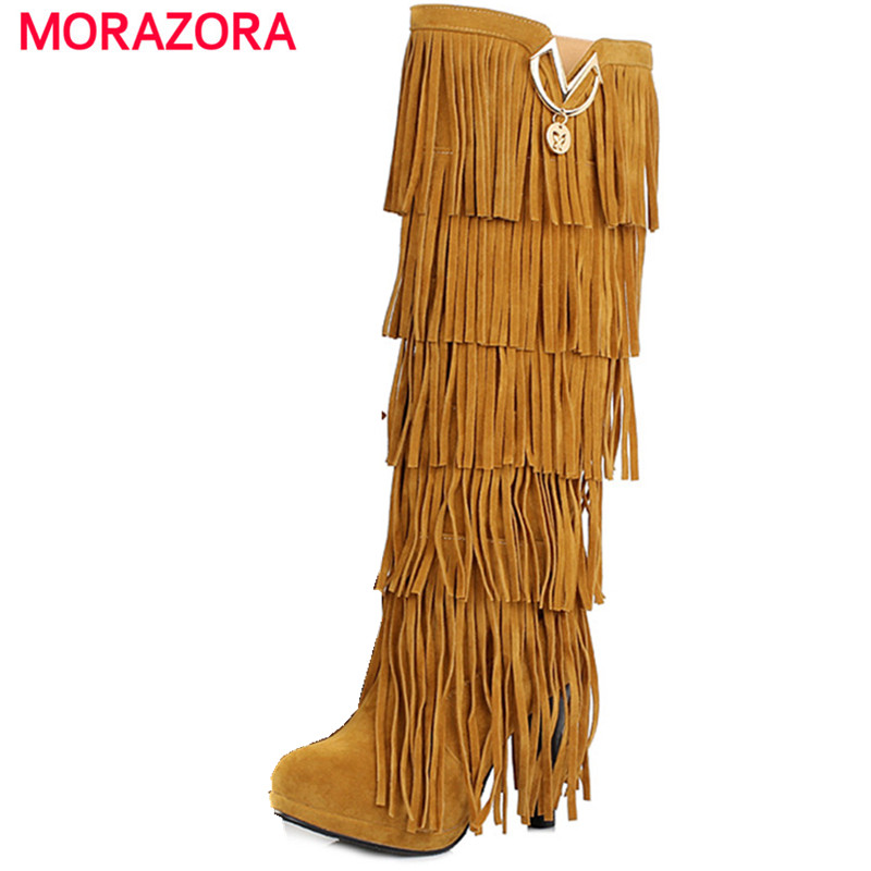 MORAZORA Fashion high heels platform tassel women s knee high boots sexy yellow beige red black