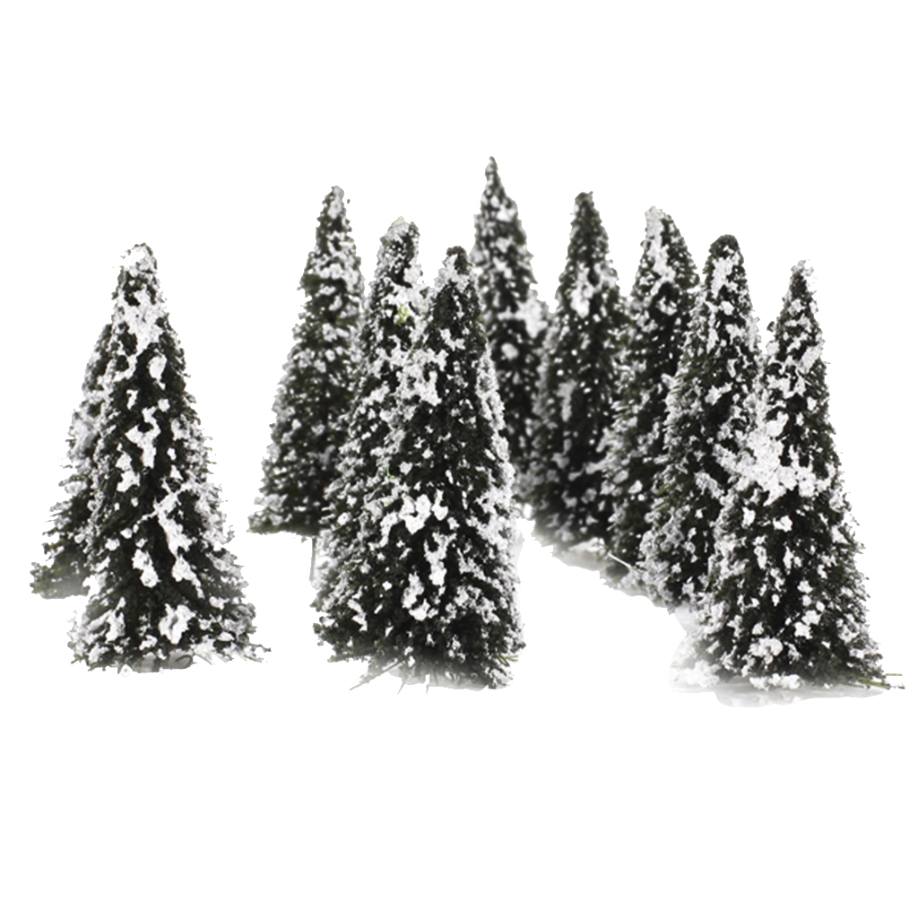 10pcs Plastic Model Tree With Snow N Scale Building Park Garden Miniature Landscape Wargame Scenery Supplies