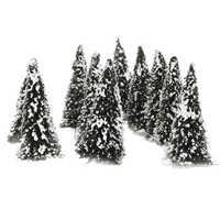10pcs Plastic Model Tree with Snow N Scale Building Park Garden Miniature Landscape Wargame Scenery Supplies