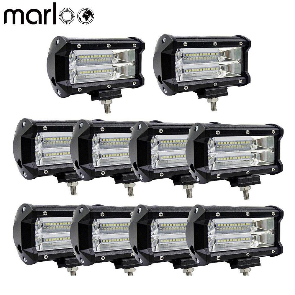 Marloo 10pcs 5 inch 72W LED Work Light Bar White Amber Yellow Offroad 12V Headlights 4x4
