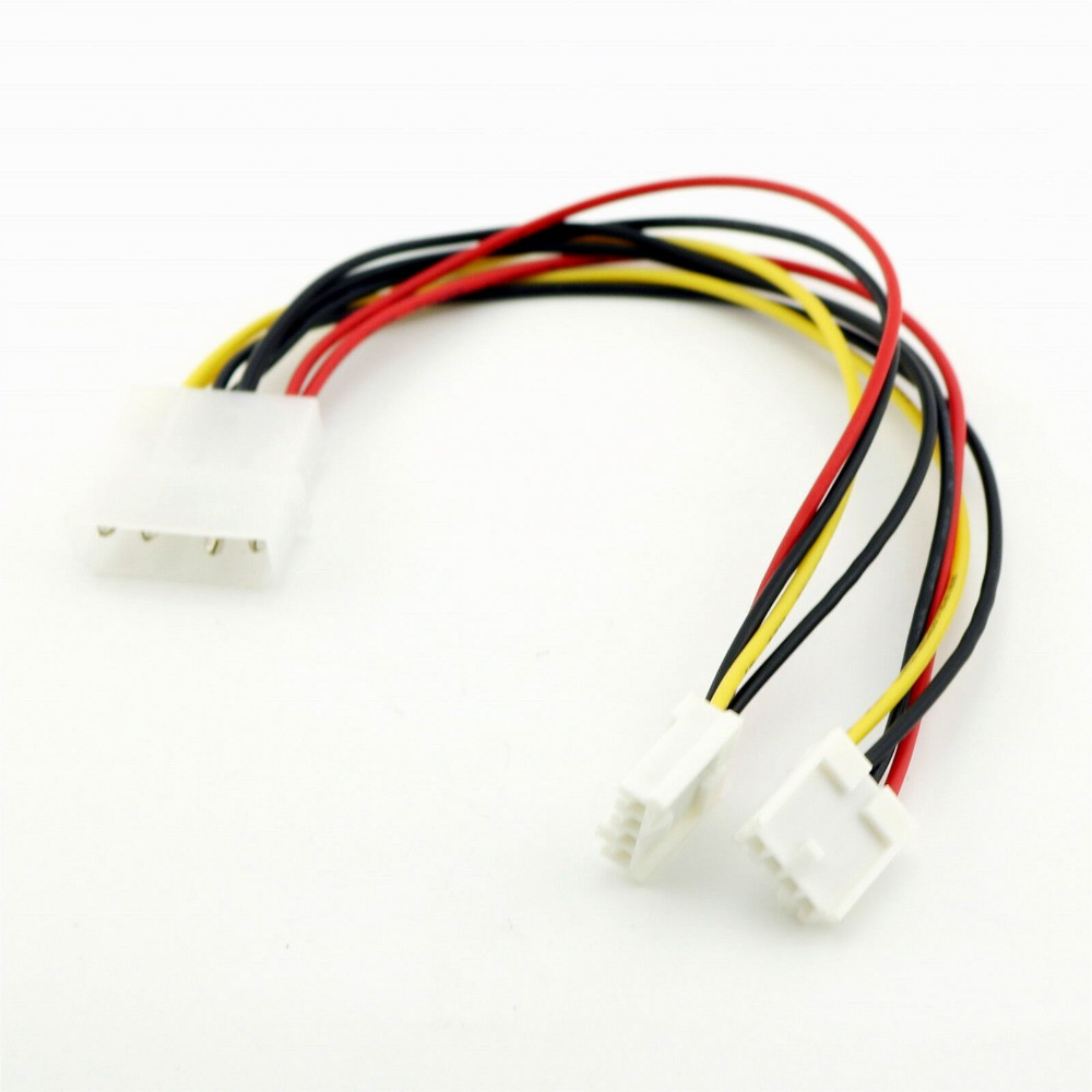 1pc 4 Pin Molex To Dual 4 Pin Floppy PC Power Y Splitter Adapter Connector Cable For Floppy Drive FDD 20cm