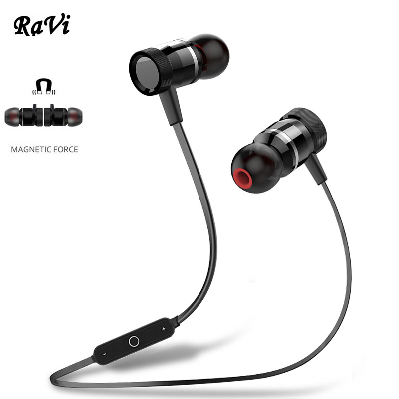 RAVI Metal Bluetooth Earphone Wireless Headset Sport Headphone Earbuds Bass Earpiece With Mic auriculares Bluetooh 4.1 Handsfree high quality nylon braided wire music in ear colorful metal earphone and clear bass earpiece sport earbuds with mic headset