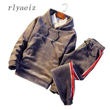 Rlyaeiz Male Sporting Suits Winter Gold Velvet Tracksuit Men's Sportswear Sets Thick Fleece Warm Hoodies + Pants Oversized M-5XL