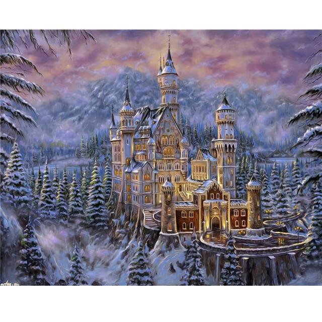 5D Christmas Snow House Diamond Painting Embroidery Cross Stitch DIY Crafts Home Decor diamond mosaic Full Square