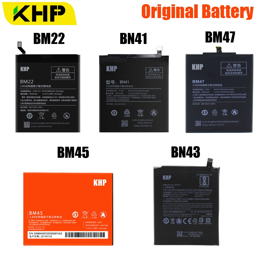 KHP BM45 BM47 BN43 BM22 BN41 Battery For Xiaomi Redmi 3 3S 3X 4 Note 2 Note 4 Note 4X Original Battery For Xiaomi MI 5 BatteriesKHP BM45 BM47 BN43 BM22 BN41 Battery For Xiaomi Redmi 3 3S 3X 4 Note 2 Note 4 Note 4X Original Battery For Xiaomi MI 5 Batteries