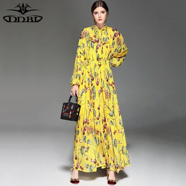 Flowers print yellow dress floor length long dress 2018 womens high flowers print yellow dress floor length long dress 2018 womens high quality fashion dress 171213 mightylinksfo