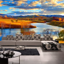 3D  Autumn Grassland River Wallpaper