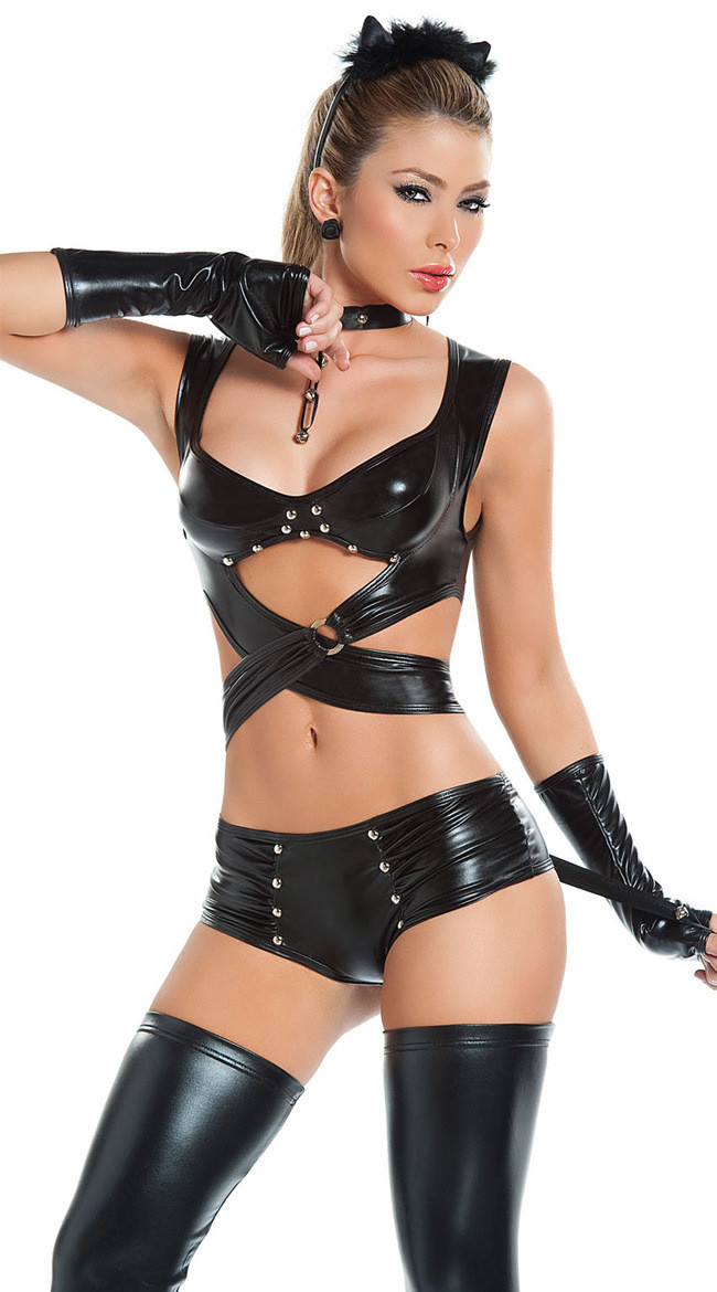 2017 Hot Patent leather dress clubwear US and European Night fun costumes Cat Costumes sexy costumes sex products sexy lingerie
