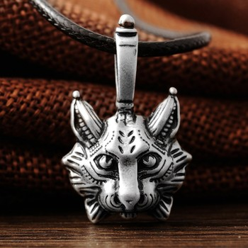 1pcs New Vintage Lynx Bobcat Pendant Lynx head Pendant Necklace cat Jewel Pagan Jewelry Animal Pendant Necklace Jewelry