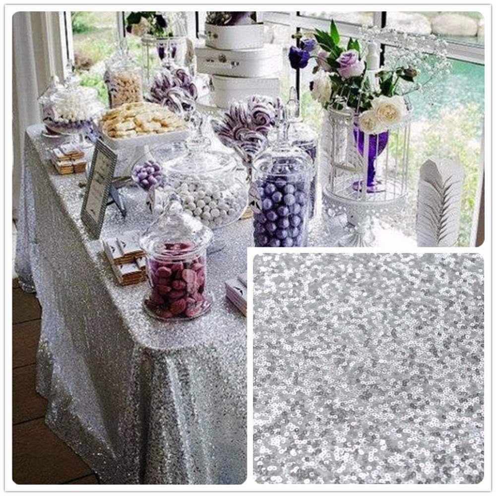 Hot Sale!!! Wholesale 10PCS 90x156inch Silver Sequin Tablecloth, Custom Made Sequin Table cloth, Sparkling Sequin Table CoverHot Sale!!! Wholesale 10PCS 90x156inch Silver Sequin Tablecloth, Custom Made Sequin Table cloth, Sparkling Sequin Table Cover