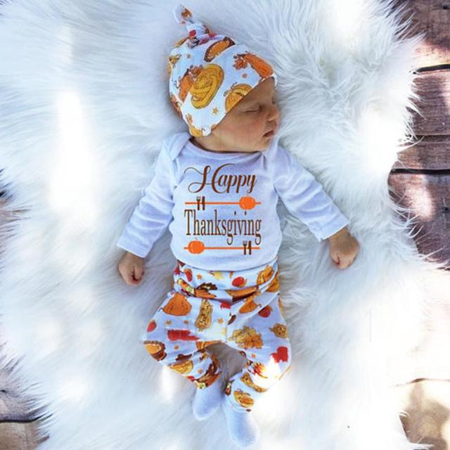 bd556c092 baby girl clothes baby boy clothes Newborn Infant Baby Girl Letter Romper  Tops+Pants+Hat Thanksgiving Outfits Set