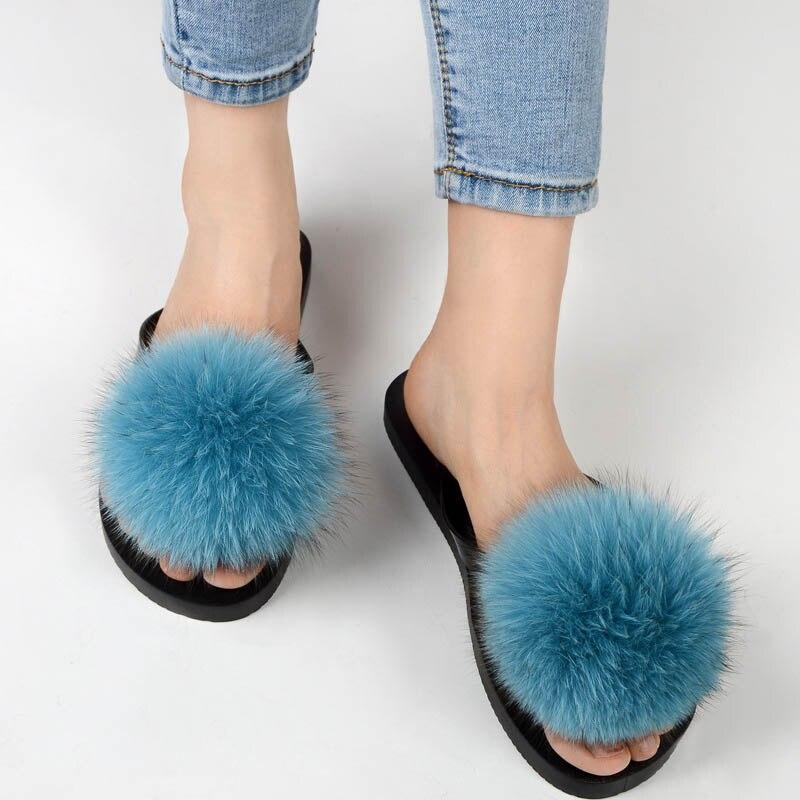 women slippers fox fur pompom (22)
