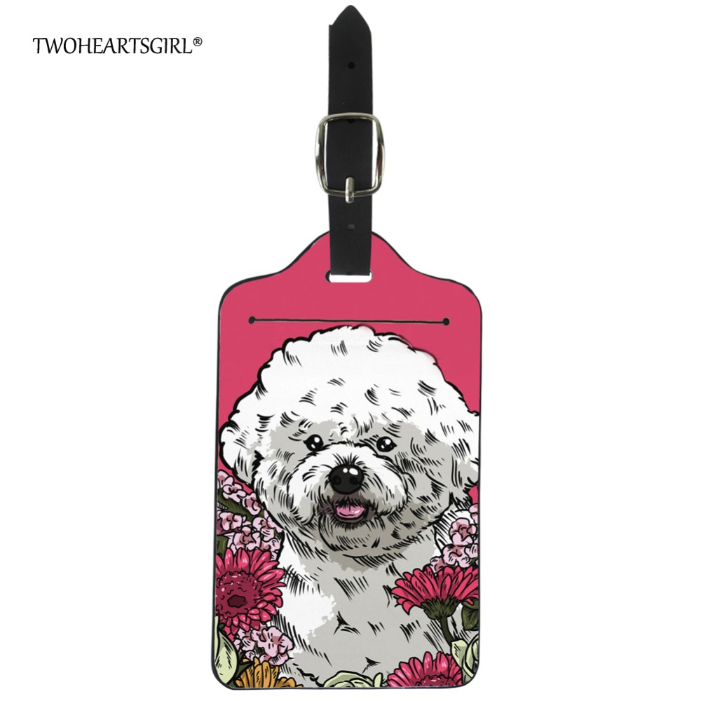 Twoheartsgirl Kawaii Bichon Frise Luggage Tag for Women Floral Dog Suitcase Address Name Id Holder Portable Boarding Label