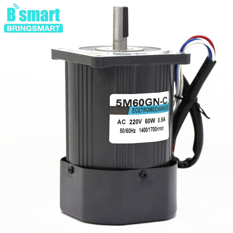 Bringsmart 5M60GN-CC 220V 60W AC Motor Small Machine High Speed Electromotor AC Adjustable Speed Motor
