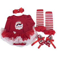Christmas Baby Clothes Santa Claus Baby Girl Clothing Infant 4PCS Set Outfits Suit Bebe Birthday Paty Costumes Vestido Boutique