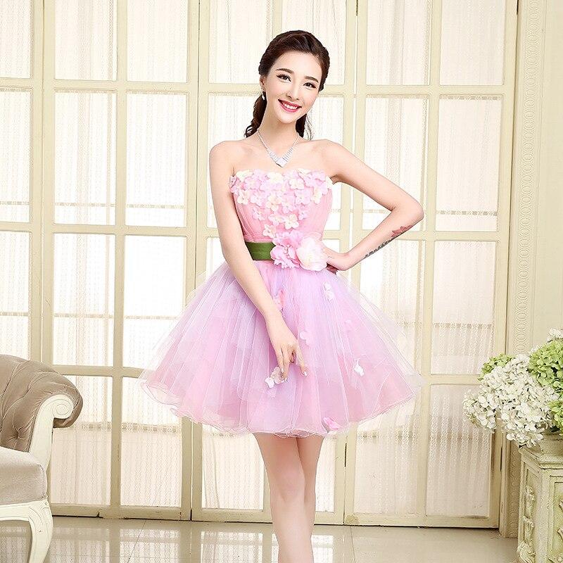 Hermoso de encaje a corto vestidos de fiesta rosa niñas alta ...