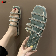 HQFZO Fashion Narrow Band Crystal Clear Slippers Flat Beach Sandals Ladies Summer Shoes Chanclas Flip Flops Zapatos