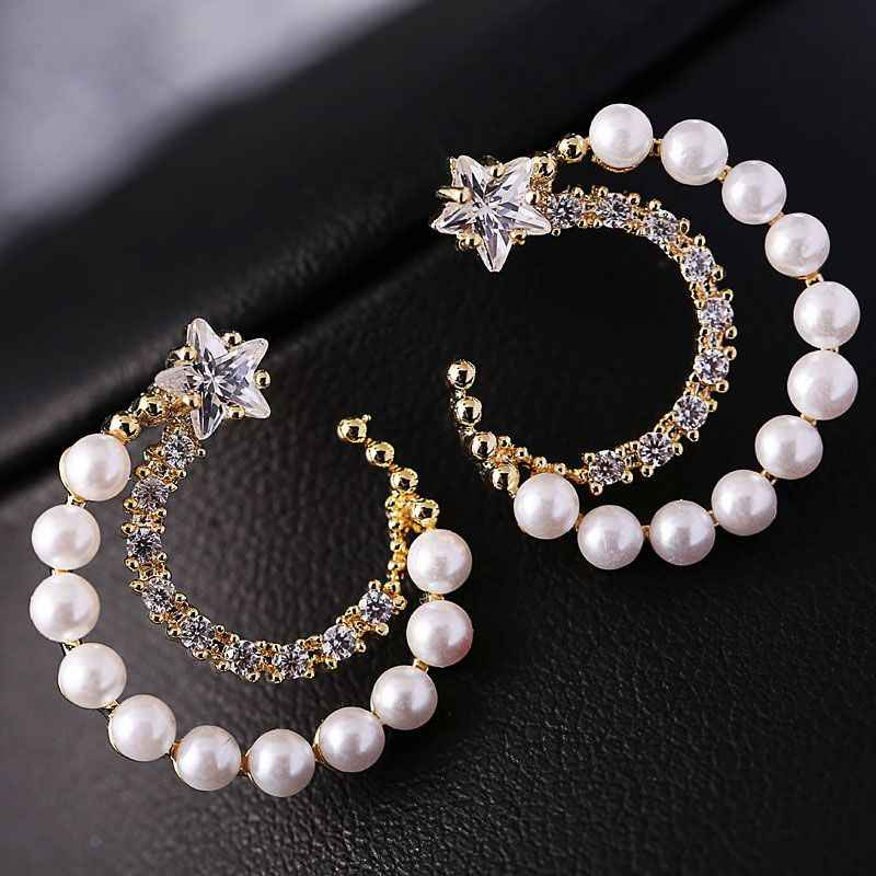 Vintage Moon Pearl Stud Earrings Ethnic Star Crystal Earrings For Women Fashion Brand Wedding Party Bridal Jewelry Gift