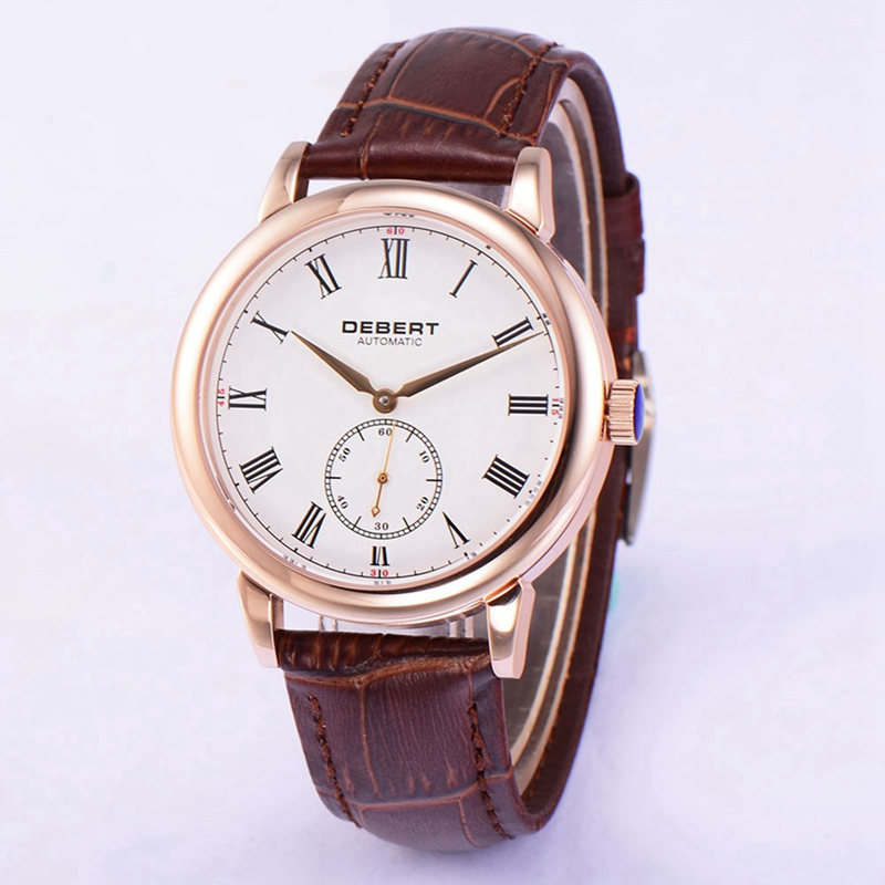 лучшая цена Debert 40mm Mens Automatic Watch Rosegold PVD Case White Dial Roman Markers Watches Seagull Movement Brown Strap Clock DT7031BRR