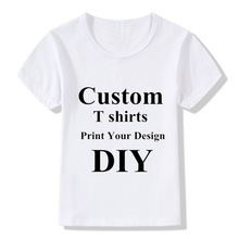 DLF 2-16Years Your Name Custom Print Design Photos White Soft T Shirt Short Sleeves Children DIY shirts Kid Top O neck Tee